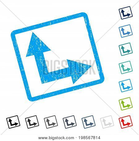 Bifurcation Arrow Right Up rubber watermark in some color versions.. Vector pictogram symbol inside rounded rectangular frame with grunge design and dust texture. Stamp seal illustration,