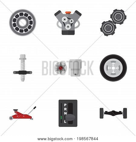 Flat Icon Auto Set Of Motor, Turnscrew, Automatic Transmission And Other Vector Objects