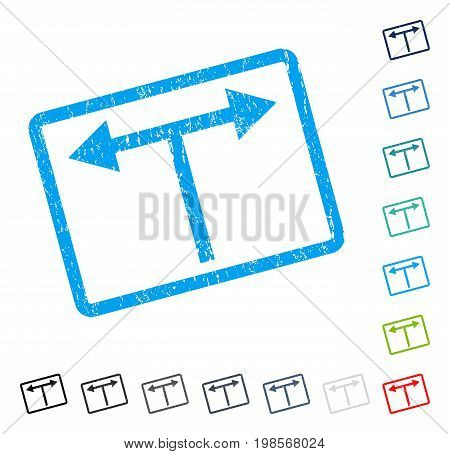Bifurcation Arrows Left Right rubber watermark in some color versions.. Vector icon symbol inside rounded rectangular frame with grunge design and scratched texture. Stamp seal illustration,