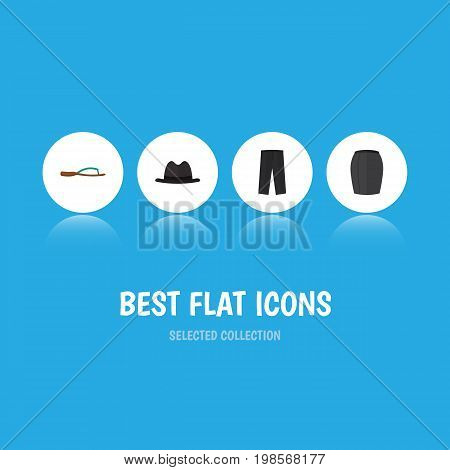 Flat Icon Garment Set Of Panama, Pants, Stylish Apparel And Other Vector Objects