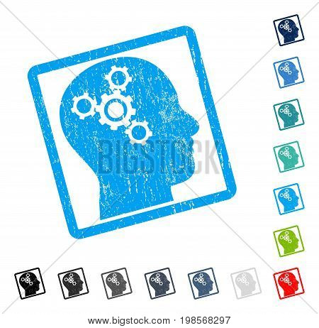 Brain Mechanics rubber watermark in some color versions.. Vector icon symbol inside rounded rectangle with grunge design and scratched texture. Stamp seal illustration, unclean sign.