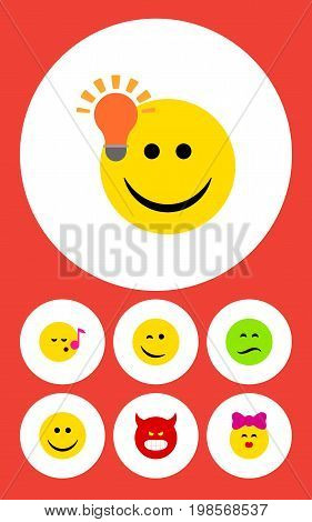 Flat Icon Emoji Set Of Descant, Winking, Joy And Other Vector Objects