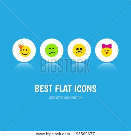 Flat Icon Gesture Set Of Have An Good Opinion, Caress, Cross-Eyed Face And Other Vector Objects