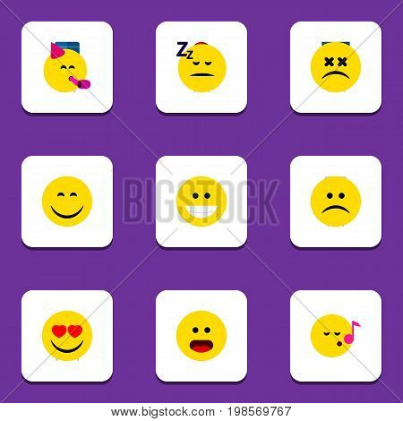 Flat Icon Emoji Set Of Descant, Sad, Asleep And Other Vector Objects