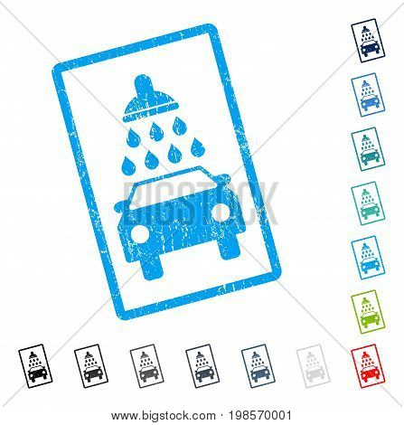 Car Wash rubber watermark in some color versions.. Vector pictogram symbol inside rounded rectangular frame with grunge design and dirty texture. Stamp seal illustration, unclean sticker.