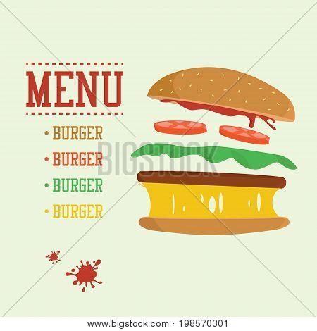 Burger concept. Menu with burger ingredients. Flat design junk food with ketchup