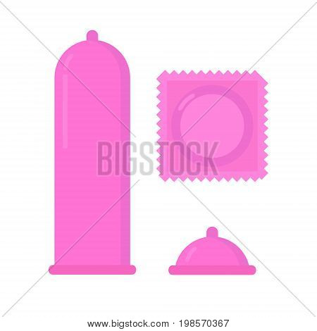 Condom vector illustration. Contraceptive. Condom pack Safe sex. Protection concept isolated