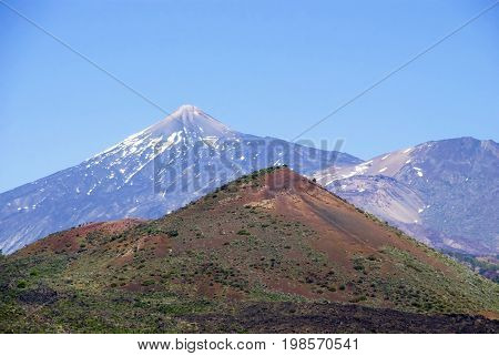 Greeting Card With Copy Space. Vulcano Mountain Teide On Teneriffa. Panorama View Of Beautiful Scenery