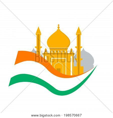 India travel. Independence day india. Flag with palace isolated. Tourism. Traditional architecture