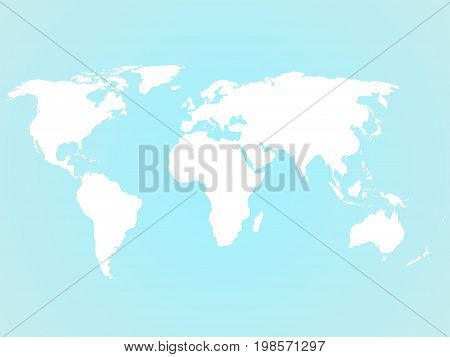Simplified white world map silhouette on turquoise blue background. Vector illustration.