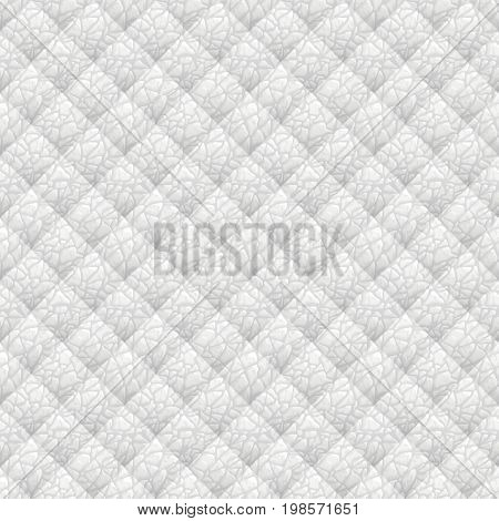 Wyite leather upholstery vector seamless pattern. Quilted leather texture. Anymal skin texture. Can be used in web design and graphic design.