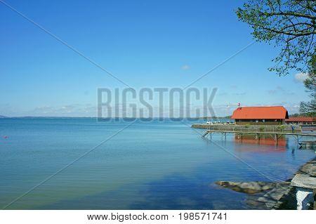 chiemsee chiemgau lake pier blue sky landscape outdoor in summer munich bavaria bayern germany deutschland