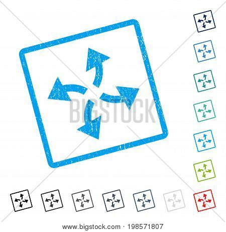 Centrifugal Arrows rubber watermark in some color versions.. Vector pictogram symbol inside rounded rectangle with grunge design and scratched texture. Stamp seal illustration, unclean sticker.