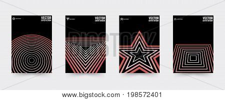 Brochure cover template set. Geometric background design covers for magazine, printing products, flyer, presentation, brochures or booklet. Vector illustration.