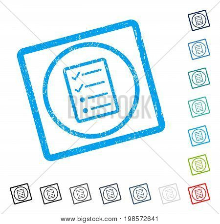 Checklist Page rubber watermark in some color versions.. Vector icon symbol inside rounded rectangle with grunge design and unclean texture. Stamp seal illustration, unclean sticker.