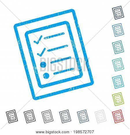 Checklist Page rubber watermark in some color versions.. Vector icon symbol inside rounded rectangle with grunge design and scratched texture. Stamp seal illustration, unclean sticker.