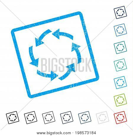 Circulation rubber watermark in some color versions.. Vector icon symbol inside rounded rectangle with grunge design and dust texture. Stamp seal illustration, unclean sticker.