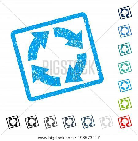 Circulation rubber watermark in some color versions.. Vector icon symbol inside rounded rectangular frame with grunge design and dust texture. Stamp seal illustration, unclean emblem.