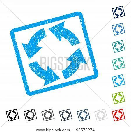 Circulation rubber watermark in some color versions.. Vector icon symbol inside rounded rectangular frame with grunge design and unclean texture. Stamp seal illustration, unclean sign.
