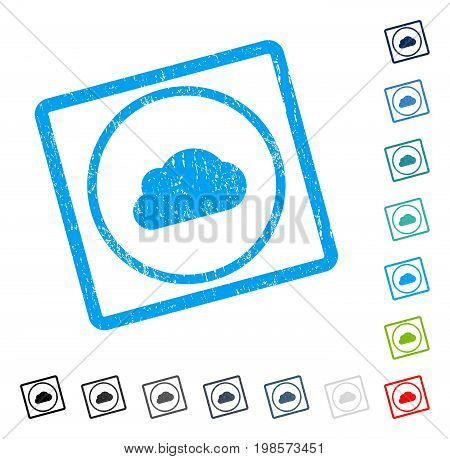 Cloud rubber watermark in some color versions.. Vector pictogram symbol inside rounded rectangular frame with grunge design and dust texture. Stamp seal illustration, unclean sign.