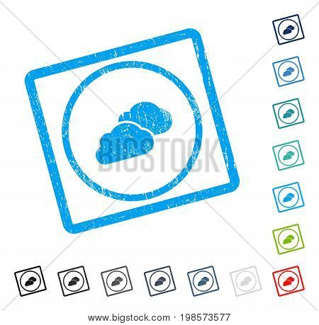 Clouds rubber watermark in some color versions.. Vector pictogram symbol inside rounded rectangular frame with grunge design and dust texture. Stamp seal illustration, unclean emblem.
