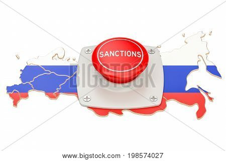 Sanctions button on map of Russia 3D rendering isolated on white background