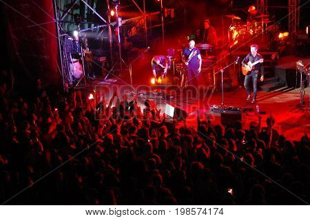 People Attend The Concert Of Daniele Silvestri In The Roman Theatre Of Fiesole, Italy.