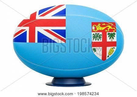 Rugby Ball with flag of Fiji 3D rendering isolated on white background