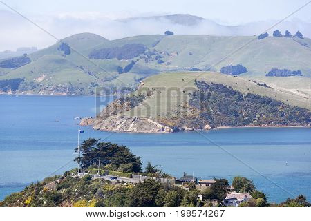 The lookout on a top of the hill in Port Chalmers the suburb of Dunedin city (New Zealand).