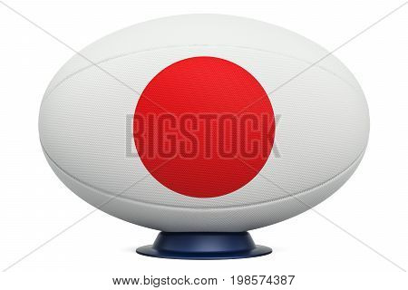 Rugby Ball with flag of Japan 3D rendering isolated on white background