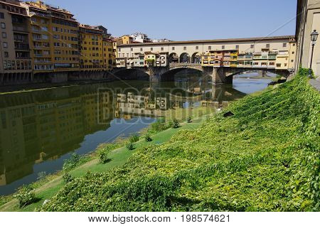 View Of Ponte Vecchio In Florence In Summer.