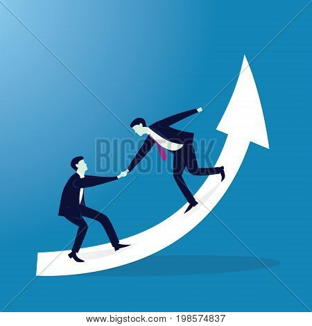 Vector illustration. Business teamwork concept. Businessmen working together helping each other to climb arrow of success. Team of people work hard to reach top position