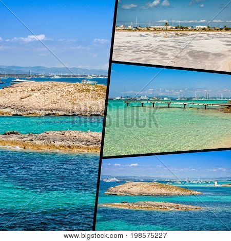 Collage of Island Formentera, Spain. Europe .