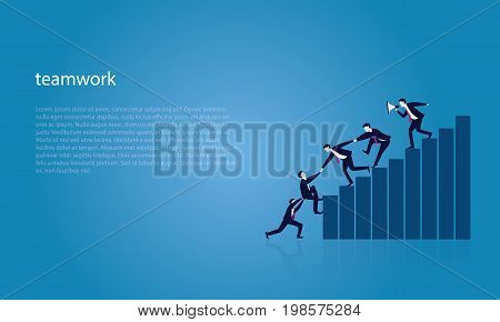 Vector illustration. Business teamwork leadership concept. Businessmen working together helping each other to climb ladder of success. Leader motivating his team to work hard for top position