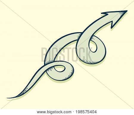 Arrow drawn twist up. Vector illustration for business illustration