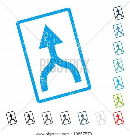 Combine Arrow Up rubber watermark in some color versions.. Vector icon symbol inside rounded rectangular frame with grunge design and dirty texture. Stamp seal illustration, unclean sign.