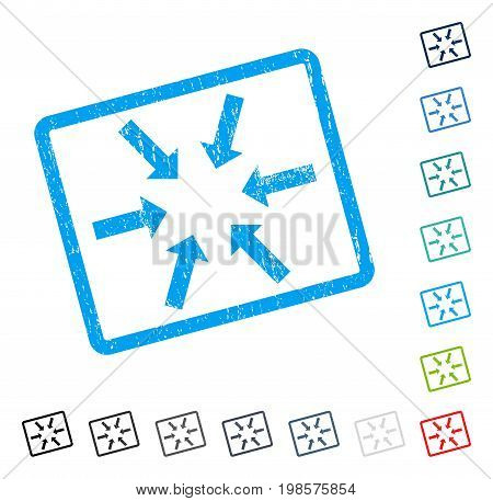 Compact Arrows rubber watermark in some color versions.. Vector icon symbol inside rounded rectangular frame with grunge design and unclean texture. Stamp seal illustration, unclean sticker.