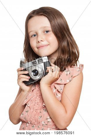 Young Brunette Girl With Vintage Camera.