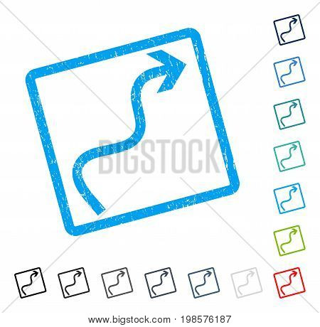 Curve Arrow rubber watermark in some color versions.. Vector pictogram symbol inside rounded rectangular frame with grunge design and unclean texture. Stamp seal illustration, unclean sticker.