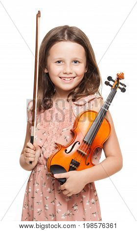 Young  Brunette Girl Playing Violin.
