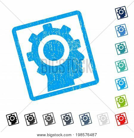 Cyborg Gear rubber watermark in some color versions.. Vector icon symbol inside rounded rectangle with grunge design and dirty texture. Stamp seal illustration, unclean emblem.
