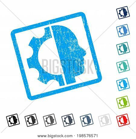 Cyborg Gear rubber watermark in some color versions.. Vector pictogram symbol inside rounded rectangle with grunge design and dirty texture. Stamp seal illustration, unclean sticker.