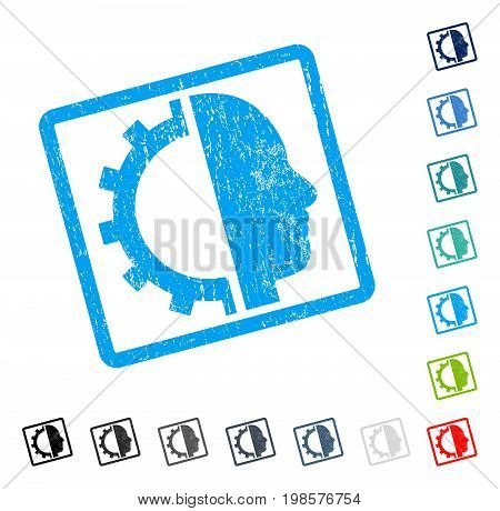 Cyborg Gear rubber watermark in some color versions.. Vector pictogram symbol inside rounded rectangular frame with grunge design and dirty texture. Stamp seal illustration, unclean sign.