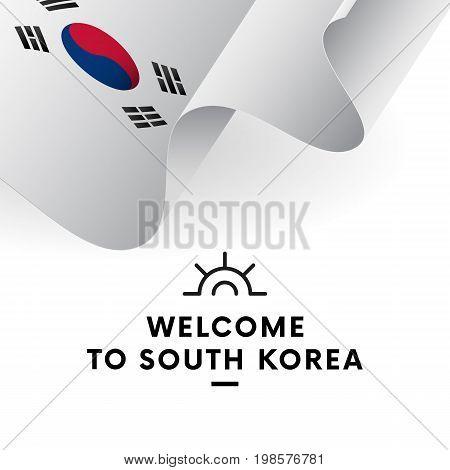 Welcome to South Korea. South Korea flag. Patriotic design. Vector illustration.