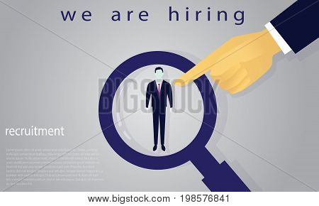 Vector illustration. Business recruitment hiring concept. Selecting businessman with pointing finger. Focus on one man with magnifying glass