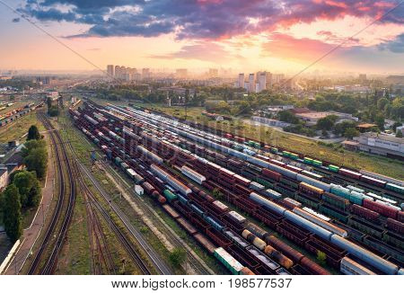 Aerial View Of Colorful Freight Trains. Railway Station
