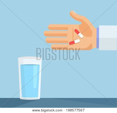 Man, doctor, pharmacist holding in hand capsules, pills, tablets next to the glass of water. Health care concept. Taking medical drugs. Flat style vector illustration on blue background.