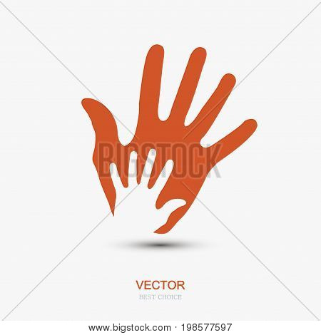 Vector modern hands icon on white background. Eps 10