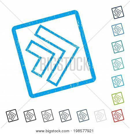 Direction Right rubber watermark in some color versions.. Vector pictogram symbol inside rounded rectangular frame with grunge design and unclean texture. Stamp seal illustration, unclean emblem.