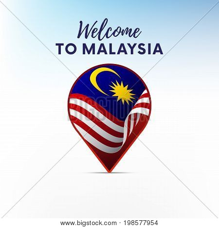 Flag of Malaysia in shape of map pointer or marker. Welcome to Malaysia. Vector illustration.